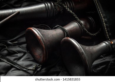 Wooden pipe bagpipes close up