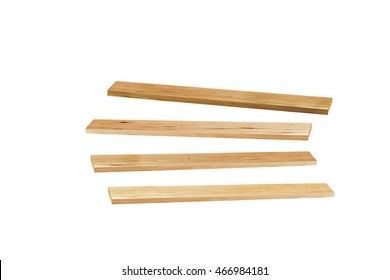 Wooden plank isolated on white background.