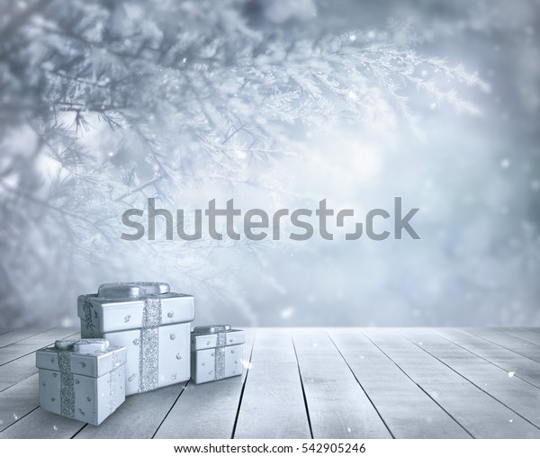 Wooden plank and pine background compose with gift box for christmas time