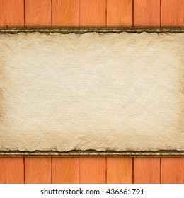 Wooden planks and blank paper sheet