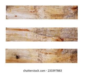 wooden planks closeup on white