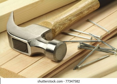 Wooden planks, hammer and nails.