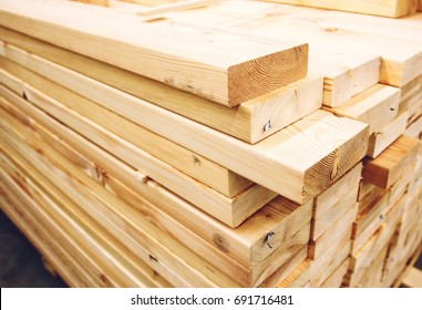 Wooden planks, lining, boards for construction works