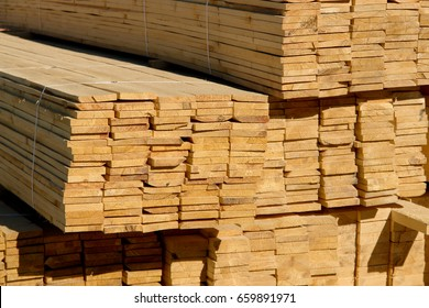 Wooden planks on timber yard, warehouse or sawmill