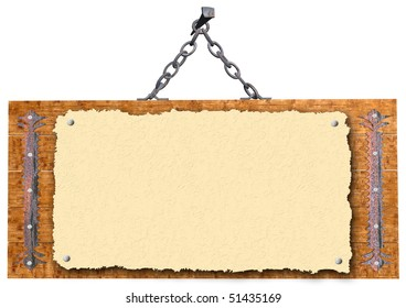 The wooden plaque to declare isolated on a white background