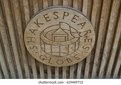 Wooden plaque of Shakespeare's Globe in London. February 14, 2017 London - United Kingdom