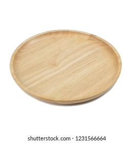 wooden plate for food isolated on white background.concept Handcraft cooking utensils