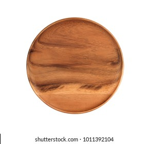 Wooden plate isolated on white background, Top view.