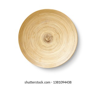 wooden plate isolated top view, clipping path