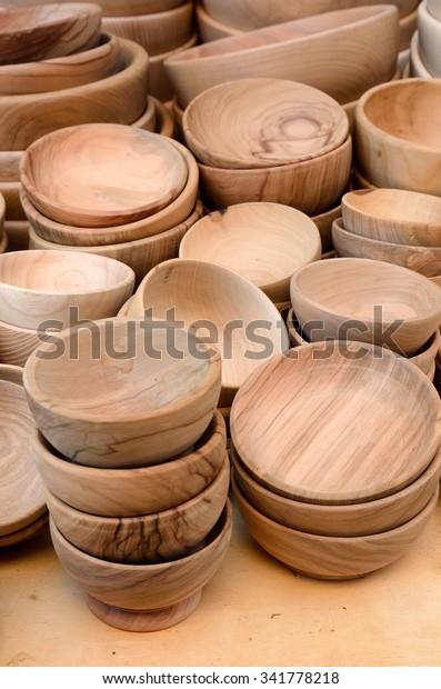 Plates For Sale >> Wooden Plates Sale Market Stock Photo Edit Now 341778218