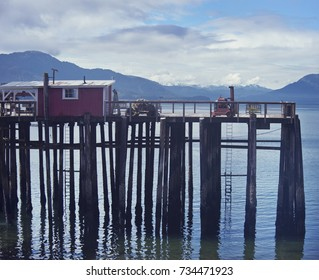 Wooden Platform near the Crab Station Restaurant,Icy Strait Point, Hoonah, Alaska, USA