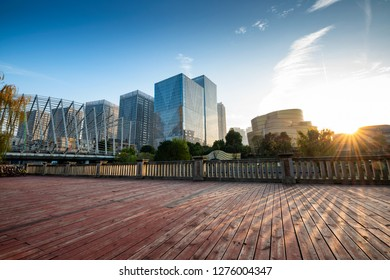 Wooden platforms and cities at shanghai
