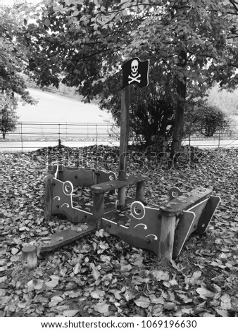 Wooden Playground Equipment Pirate Ship Black Stock Photo Edit Now