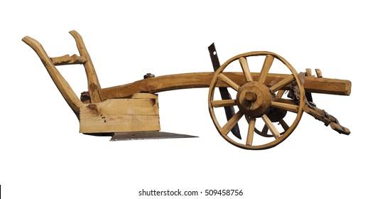 Wooden plow, XVIII-XIX century. Model. White background, isolation