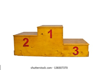 wooden podium with red numbers on a white background