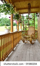 Wooden porch in the city of Iasi, Romania
