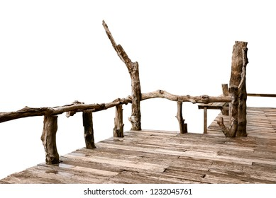 Wooden porch isolated on white background with clipping path