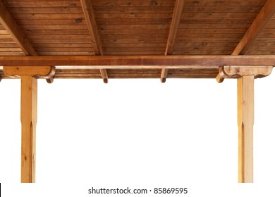 wooden porch roof view from inside isolated on white background
