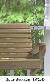 Wooden Porch Swing closeup