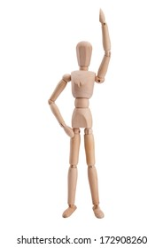 Wooden pose puppet mannequin isolated on white background