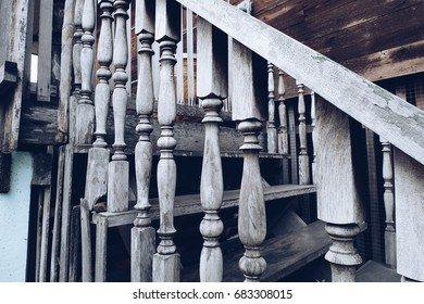 Wooden Railing of an antique staircase.