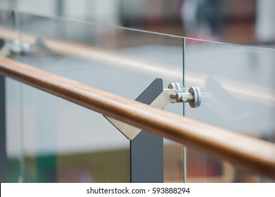 wooden railings and glass wall