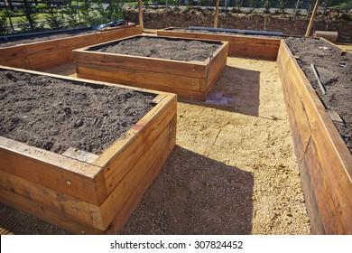 Wooden raised vegetable garden beds