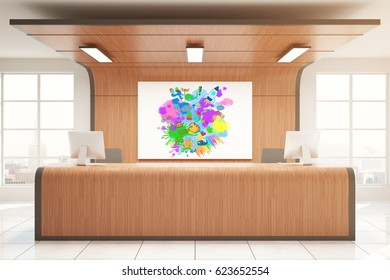 Wooden reception desk with colorful sketch. Creativity concept. 3D Rendering