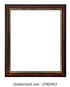 wooden rectangular picture frame with black and gold tarnished paint