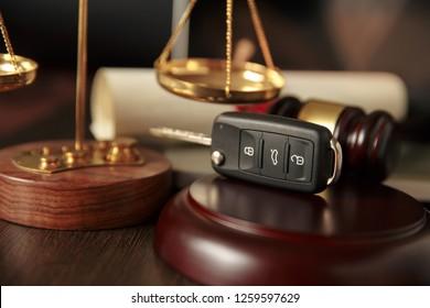 Wooden referee hammer and car keys