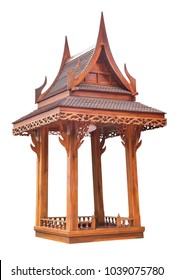 Wooden rest gazebo pavilion in Thai style isolated on white background