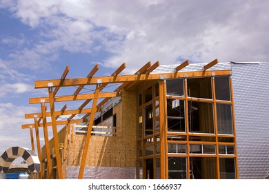Wooden Restaurant Patio Roof Construction Site