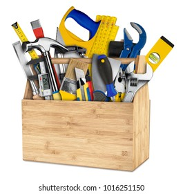 wooden retro box filled with hand tools isolated on white background do-it-yourself diy concept
