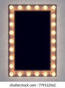 Wooden retro make-up mirror on concrete wall. 3D rendering