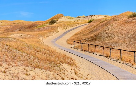 Wooden road in the sand dunes. Curonian Spit, Lithuania.