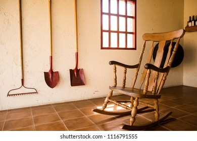 Wooden rocking chair in a farmer house