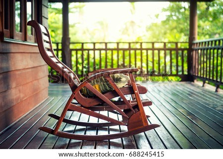 Wooden Rocking Chair On Front Porch Stock Photo Edit Now 688245415