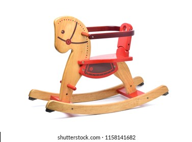 Wooden Rocking Horse with color paint isolated on white background with clipping path, Child's toy