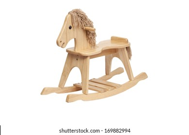 Wooden Rocking Horse on white background