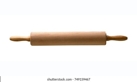 Wooden rolling pin isolated on white background with clipping path.