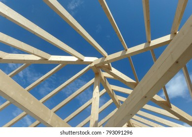 wooden roof construction, house building