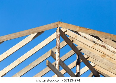 Wooden roof frame on a construction site