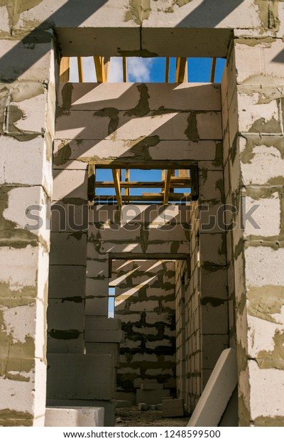 Wooden Roof Structure Aerated Concrete Brick Stock Photo Edit Now