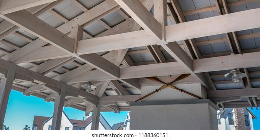 Wooden roof structure of a house in Daybreak Utah