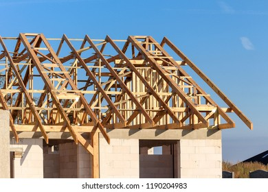 Wooden roof truss / house roof under construction