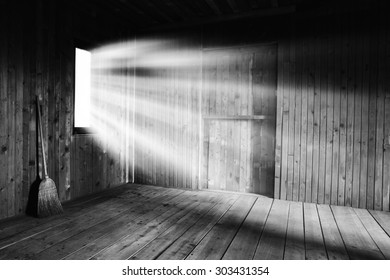 wooden room black and white photography