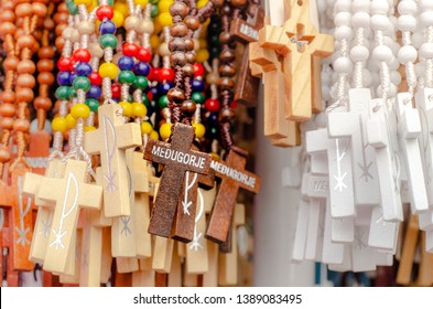 Wooden Rosaries in Medjugorje, souvenirs from the popular site of Catholic pilgrimage