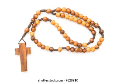 wooden rosary isolated over white