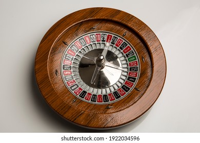 Wooden roulette isolated on white background