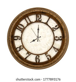 Wooden round analog wall clock isolated on white background, its eight oclock.